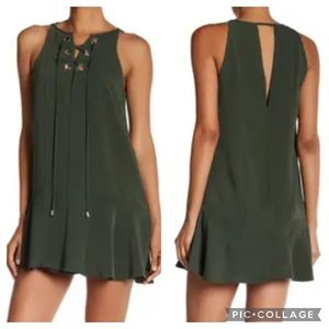 Parker Lace Up Shift Dress in Sage Green, Size XS